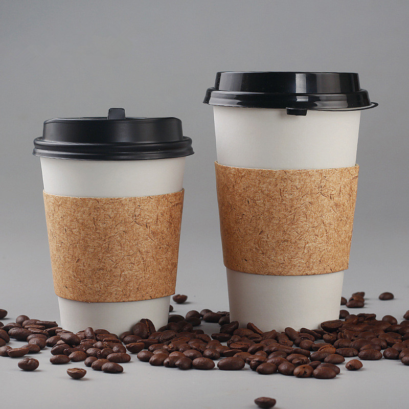 50pcs High Quality White Disposable Coffee Cup Cold Hot Drink Takeaway Packaging Paper Cup With Lid And Kraft Paper Sleeve