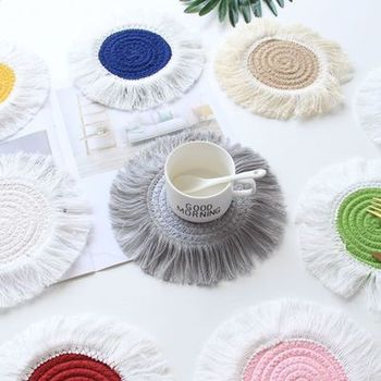 Braid Macrame Cup Pad Northern Europe Style Cotton Coaster Bohemia Non-slip Insulation Mats For Kitchen Muti Color image