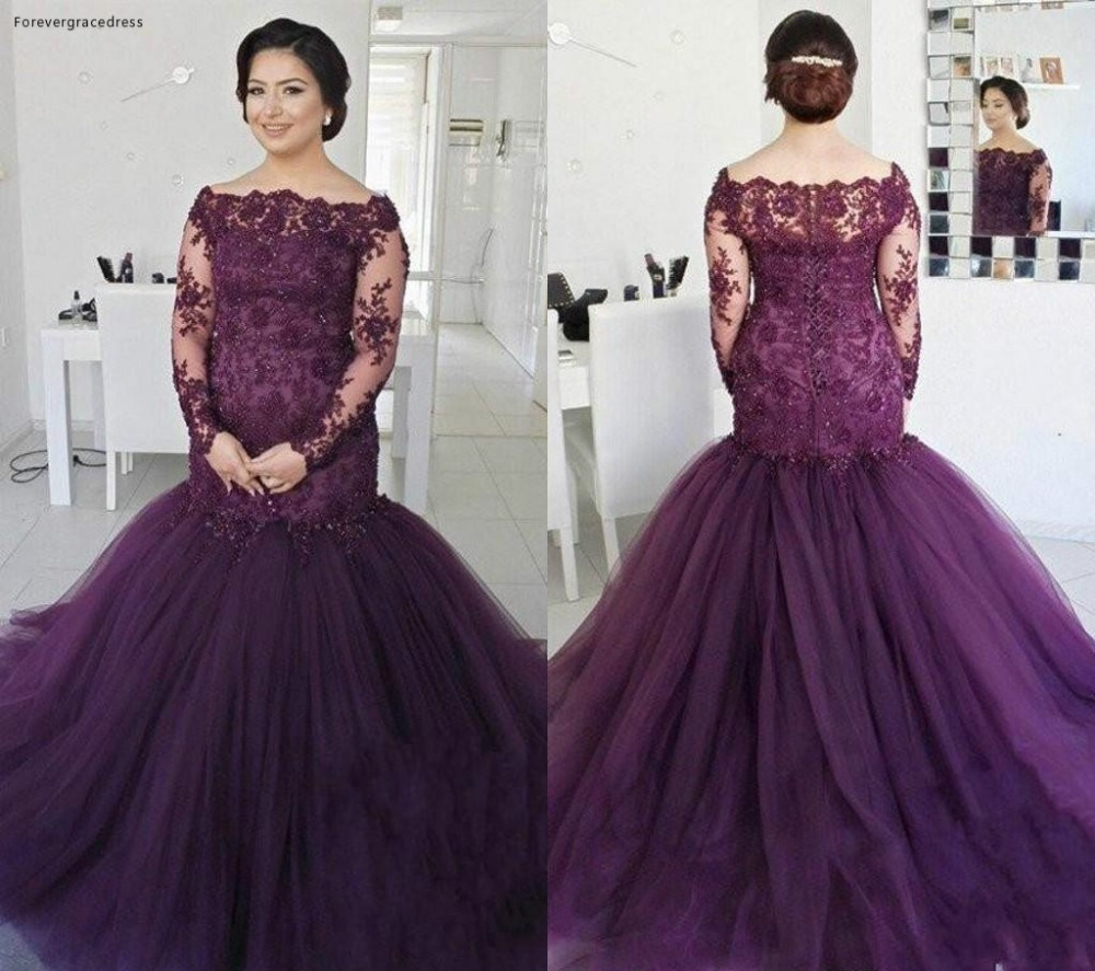 Elegant Deep Grape Mermaid Dresses Evening Wear 2018 Off the Shoulder Long Sleeves Vintage Lace Sequined Plus Size Prom Gowns BA7051 145