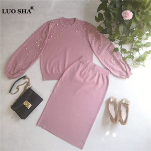 Image 3 - LUOSHA 2019 Autumn Winter New Women Two Piece Sweat Set Pearl Beading Knitted Pullover +Pencil Skirt Women Elegant 2 Piece Suits