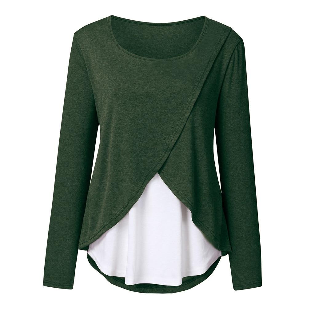 Women Pregnant Nusring Tops Maternity Women's Pregnancy Circular Collar T-shirt Maternity Breastfeeding Clothes Blouse