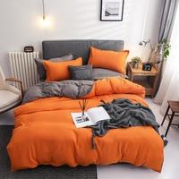 Clássico cor sólida conjunto de cama de linho conjuntos capa edredão folha alta qualidade fronhas macias rei rainha cinza azul rosa vermelho