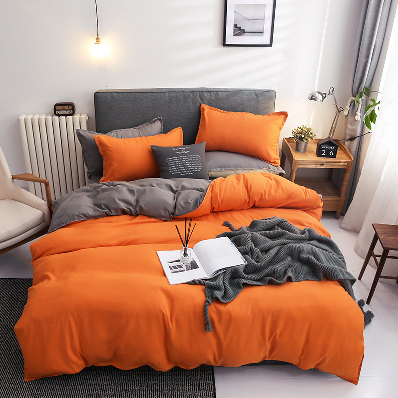 Classic Solid color bedding set bed linen duvet cover sets sheet high quality soft pillowcases king