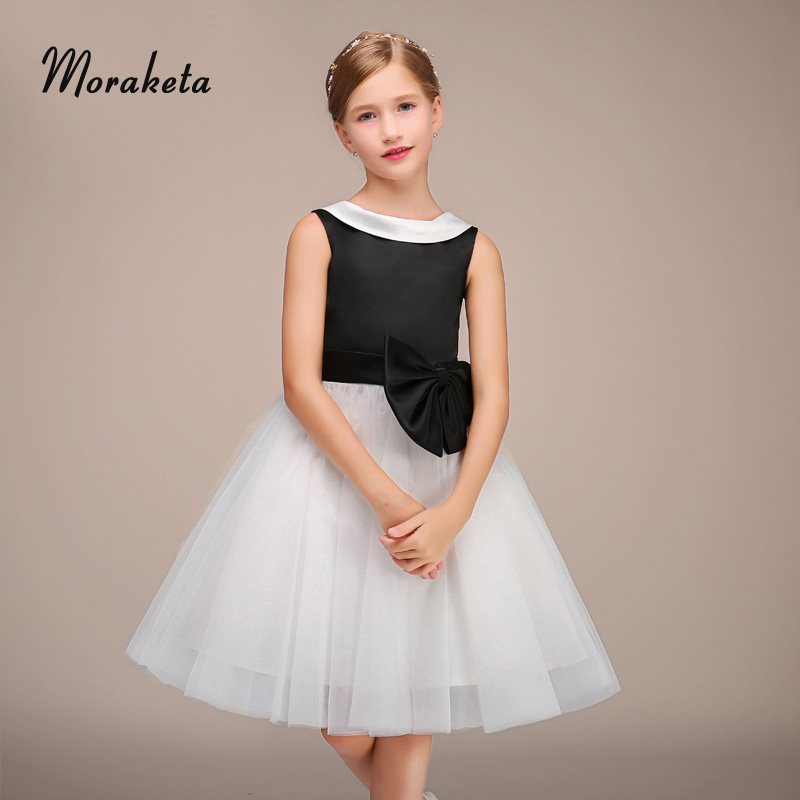 Ball Gown Princess Black And White Flower Girl Dresses With Bow Sash 2019 New Tulle  Short Junior Bridesmaid Dresses