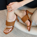 Newest Genuine Leather Shoes Women Sandals Fashion 7cm High Heels Sandals Summer Mules Shoes Ladie