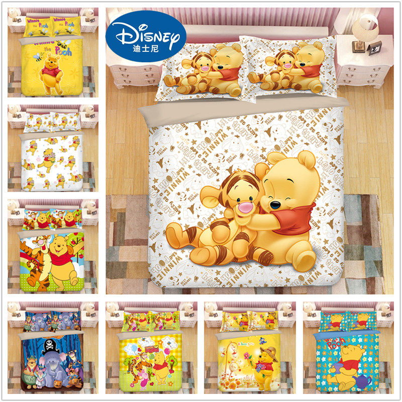 Disney Winnie The Pooh Bedding Set Twin Size Duvet Cover For Kids Bedroom Decora Boys Double Bed Set Single Queen King Bedspread
