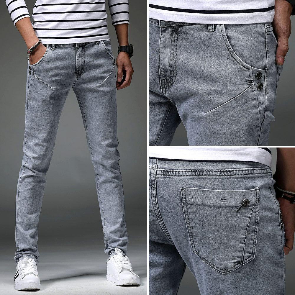 2019 New Style MEN'S Jeans Korean-style Trend Slim Fit Skinny Pants Men's Trousers Elasticity Men Pencil Pants Trousers