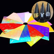 13pc Holographic Nail Art Stickers Alphabet Letters Tape Adhesive Foils DIY Decoration White Black Gold Acrylic Nails Tool