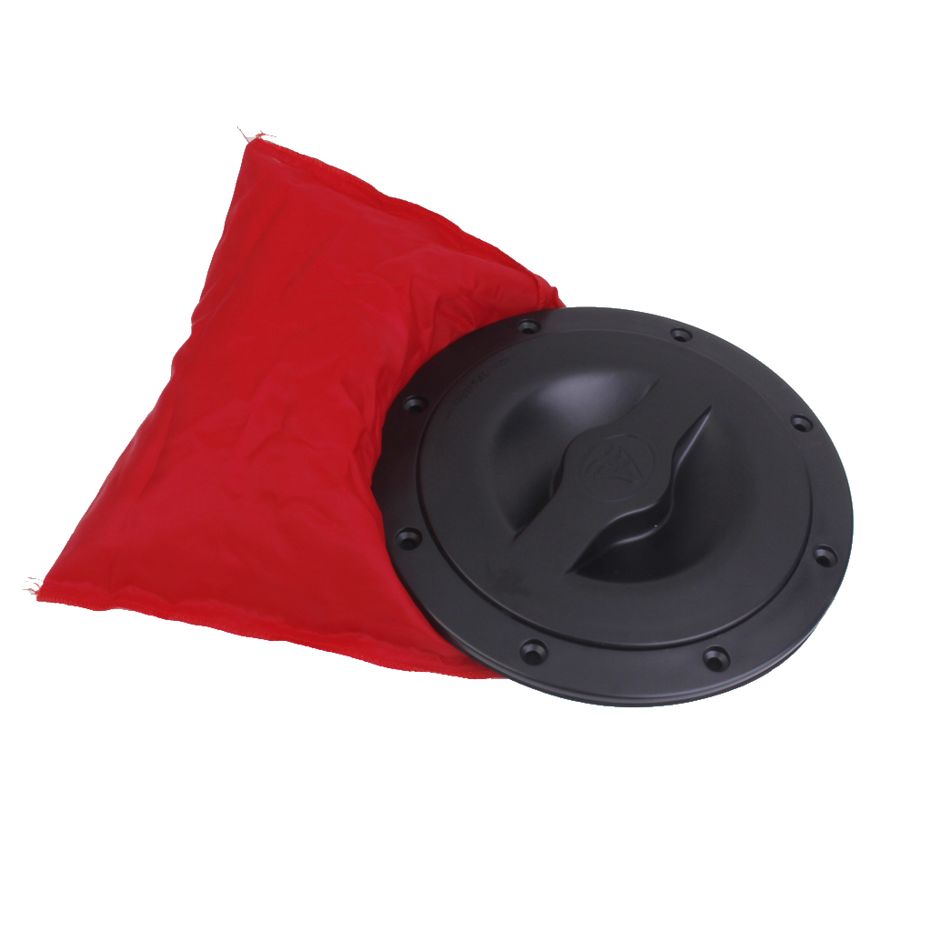 6 inch Deck Plate Kit, Deck <font><b>Hatch</b></font> Cover with Red Bag for Kayak Marine <font><b>Boat</b></font>, <font><b>Black</b></font>, Solid & Sturdy image