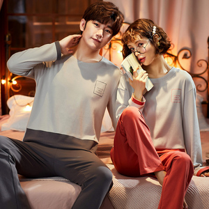 Image 1 - Pajama Sets Couples 2020 New Spring Clothes For Women Long Sleeve Tops & Solid Pants Men Pajamas Pure Cotton Suit3XL Nightwear