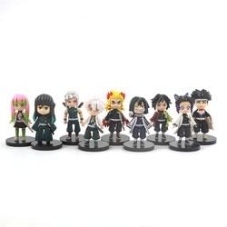 9 Pcs/Set Demon Slayer Anime Kimetsu No Yaiba Figure 8cm Tomioka Giyuu Kochou Shinobu Rengoku Kyoujurou Action Figure Toys