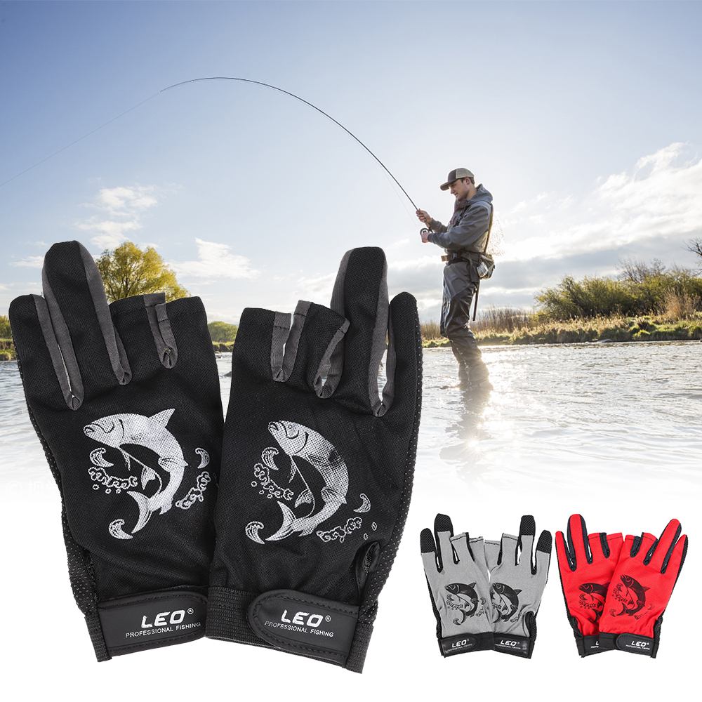 1 Pair 3 Fingerless Fishing Gloves Breathable Quick Drying Anti-slip Fishing Gloves Outdoor Sports Cycling Camping Running