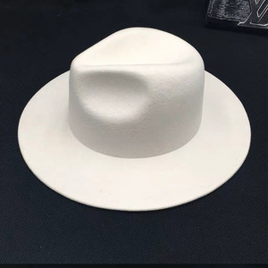 Image 4 - Women 100% Wool Felt Hats White Wide Brim Fedoras for Wedding Party Church Hats Pork Pie Fedora Hat Floppy Derby Triby Hats Base