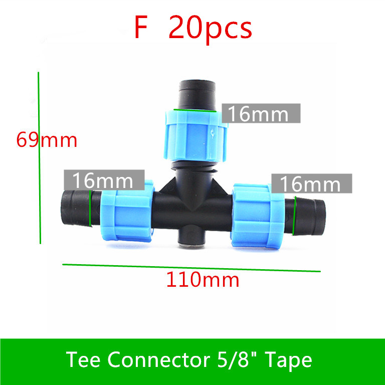 "Image 5 - 10 20PCS 5/8"" Swivel Drip Tape Connector Mini Valve Elbow Tee Starter End Plug Repair Coupler  Greenhouse Watering Drip FittingsGarden Water Connectors   -"