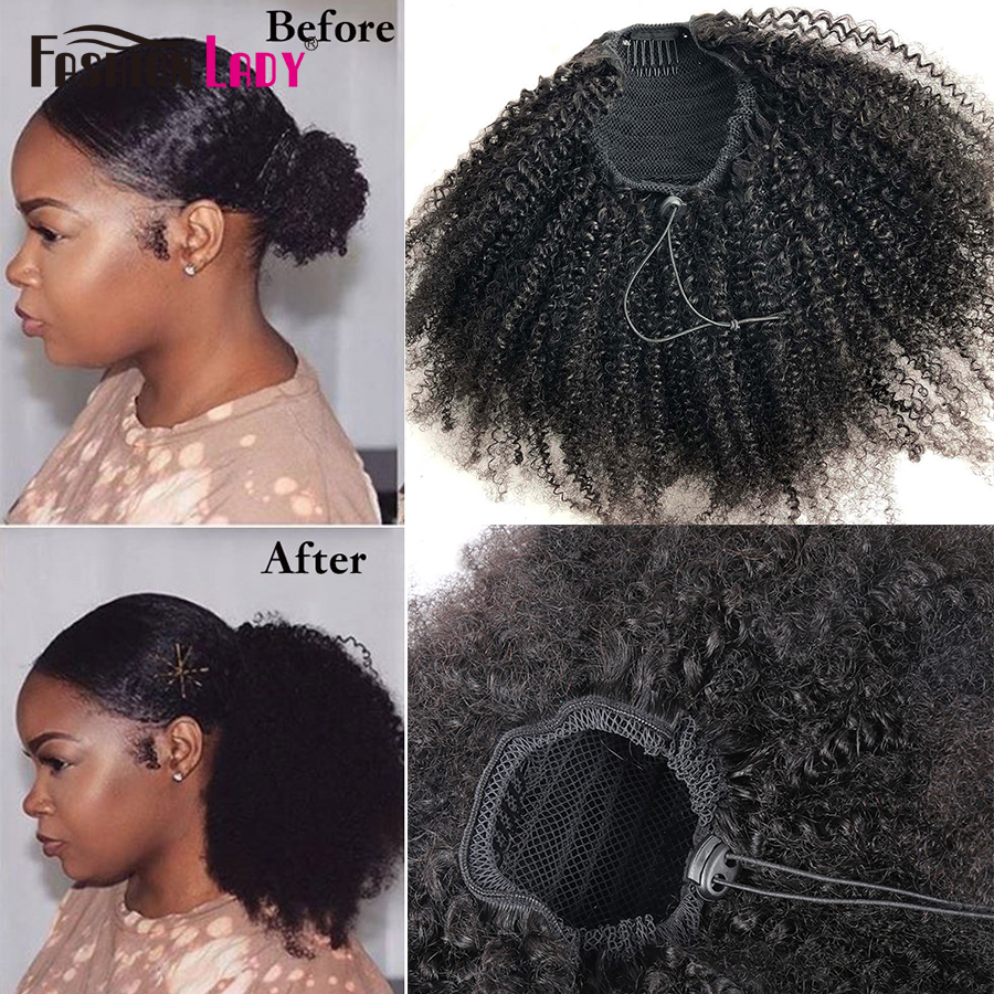 Fashion Lady Afro Kinky Curly Hair Top Ponytail 100% Human Remy Hair Drawstring Ponytail With 2 Clips