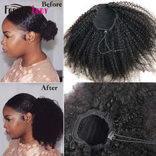 Drawstring Ponytail Human Hair-Top Remy-Hair Curly Afro Kinky 2-Clips Fashion Lady