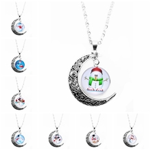 2019 Christmas Gifts Snowman Pattern Glass Coarse Ms. Necklace Selection Womens Decorations