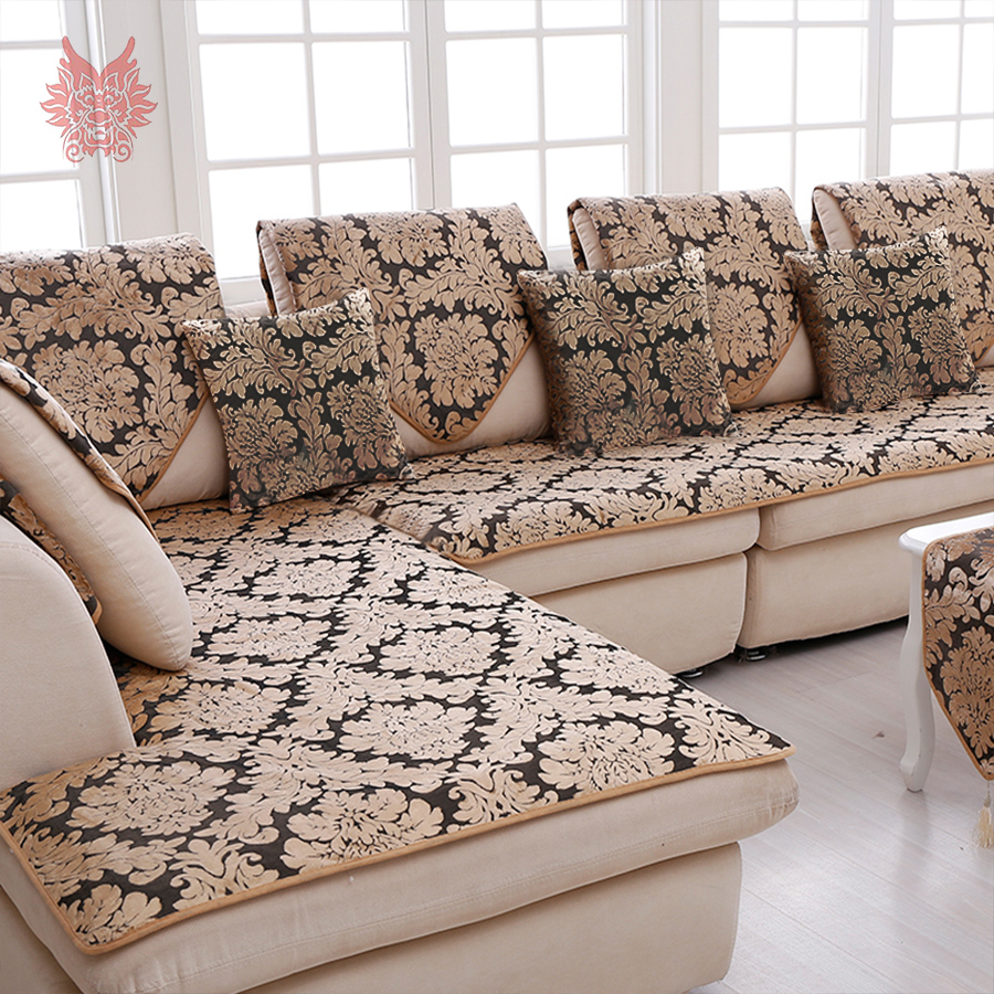 US $11.0 45% OFF|Europe black gold floral jacquard terry cloth sofa cover  plush sectional slipcovers furniture couch covers capa sofa SP3767-in Sofa  ...