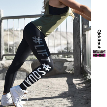 Quickitout Summer Style Sexy Women's Leggings Lift Squat Letter Print Push Up Hips Pants Workout Fitness Leggings Slim Trousers 1