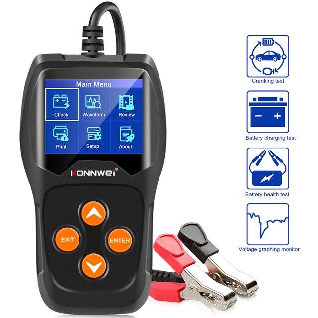 KONNWEI – testeur de batterie de voiture KW600, analyseur 12V, 100 à 2000CCA, Test de santé de la batterie/défauts, écran couleur numérique 12V, Diagnostic automatique