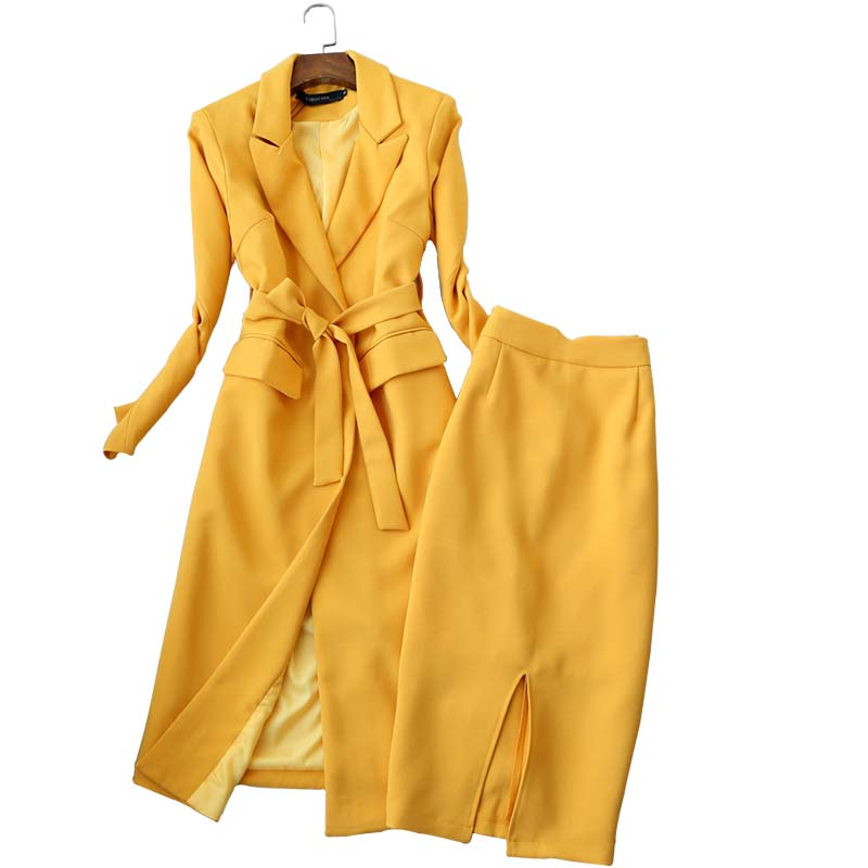 Temperament Women's Suit Skirt Set Two-piece Autumn And Winter High Quality Yellow Long Ladies Coat Jacket Slim Skirt Black 2019