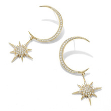 Crescent Eight Stars 925 Silver Stud Earrings Exaggerated Fashion Temperament INS Moon Star Jewelry