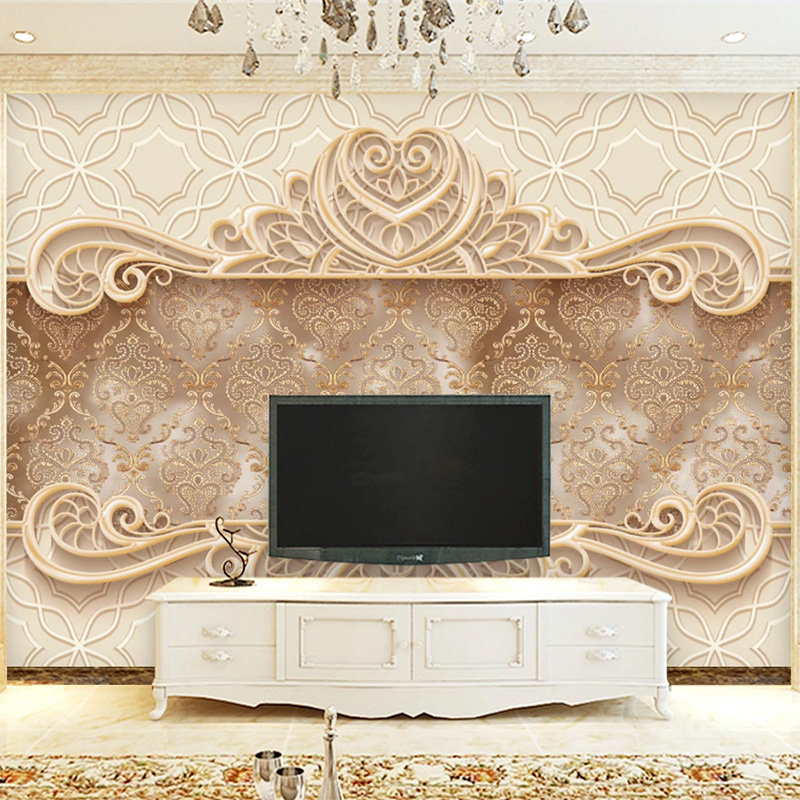 Custom Mural Wallpaper 3D Stereo European Pattern Fresco Living Room TV Sofa Background Wall Decor Luxury Wallpaper For Walls 3D