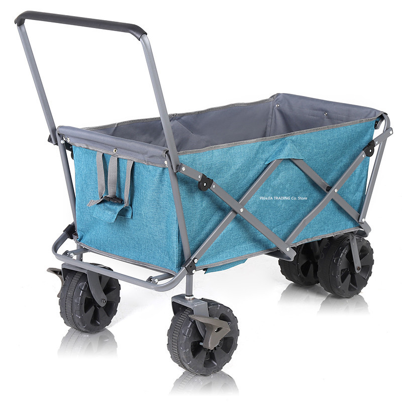 Portable Outdoor Cart with 9cm Widened Wheel, Collapsible Utility Camping Grocery Buggies, Foldable Wagon Shopping Cart image