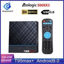 Caixa de tv smart t95 max plus, caixa de tv s905x3 64 bit, android 9.0, 4gb rom, 64gb ram, tvbox 2.4g + 5g dual band wifi uhd 8k, media playr pk x96 air
