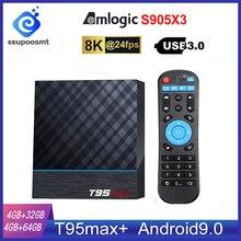 T95 MAX Plus Smart TV Box S905X3 64 Bit Android 9.0 4GB ROM 64GB RAM TVBox 2.4G+5G Dual band WiFi UHD 8K Media Playr PK X96 Air