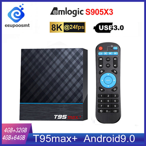 Image 1 - T95 MAX Plus Smart TV Box S905X3 64 Bit Android 9.0 4GB ROM 64GB RAM TVBox 2.4G+5G Dual band WiFi UHD 8K Media Playr PK X96 Air