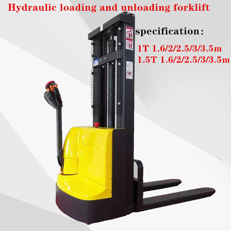 Hydraulic Loading And Unloading Forklift Truck With Automatic Pallet Lifting Electromechanical Lifting 1.6/3.5 M,1/1.5T