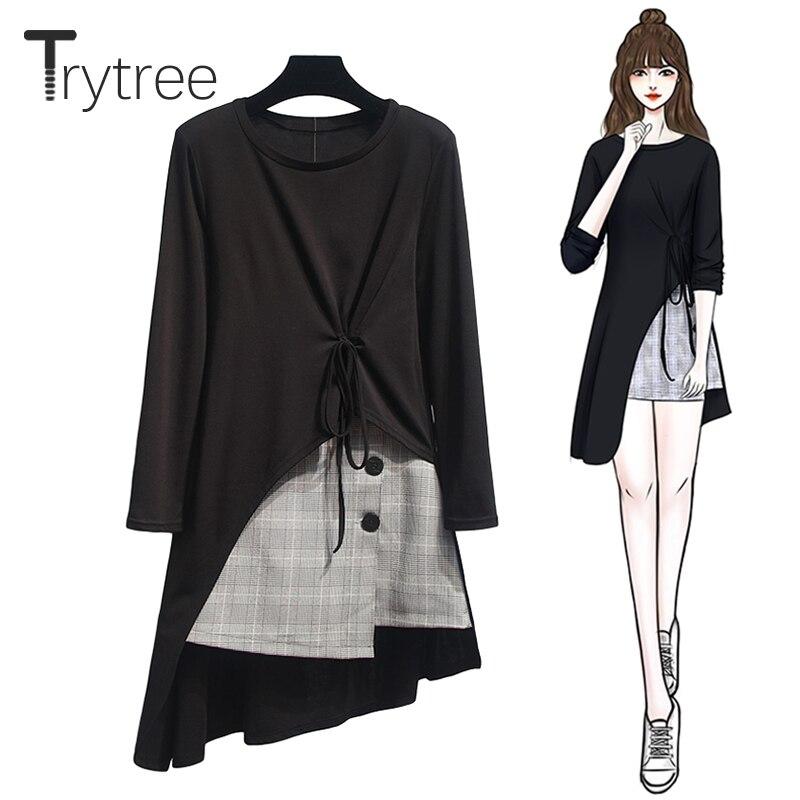 Trytree Autumn Women Two Piece Set Casual O-Neck Black Split Hem Long Top + Skirt Plaid Button Mini Office Lady Suit 2 Piece Set