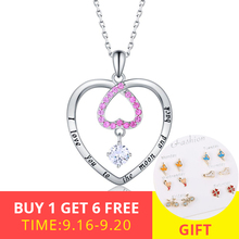 XiaoJing hot sale Romantic Pink CZ Heart Pendant Necklace charm 925 sterling silver fashion Jewelry for Women Party wedding gift