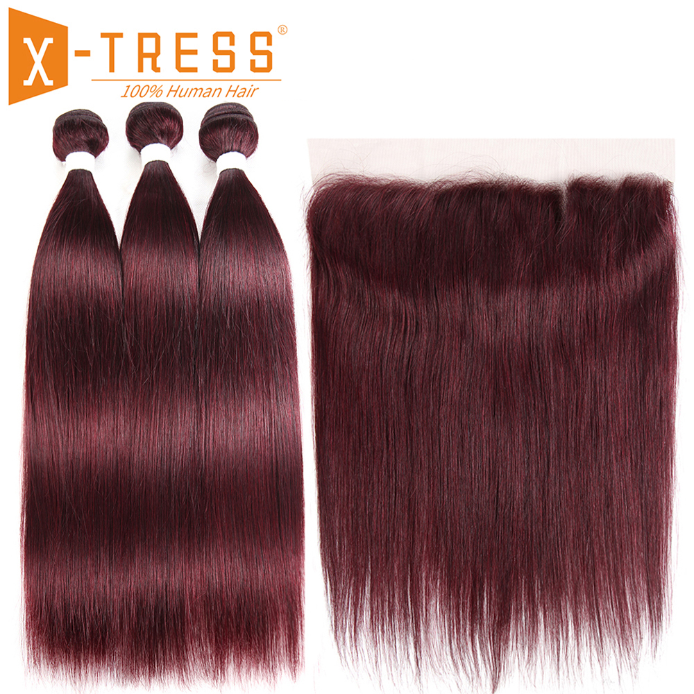 99J/Burgundy Human Hair Bundles With Frontal X TRESS Pre Colored Brazilian Non Remy Straight Bundle Hair Weave With Lace Frontal-in 3/4 Bundles with Closure from Hair Extensions & Wigs    1