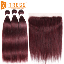 99J/Burgundy Human Hair Bundles With Frontal X-TRESS Pre-Colored Brazilian Non Remy Straight Bundle Weave Lace