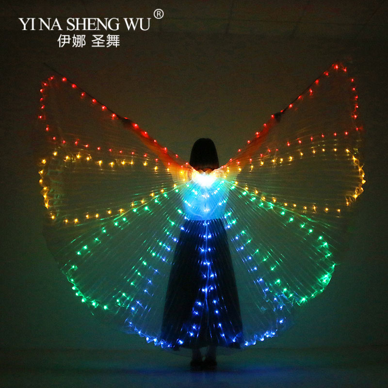 Colorful Belly Dance Performance LED Wings Dance Accessories Girls LED ISIS Butterfly Wings LED Butterfly Wings With Sticks Bag