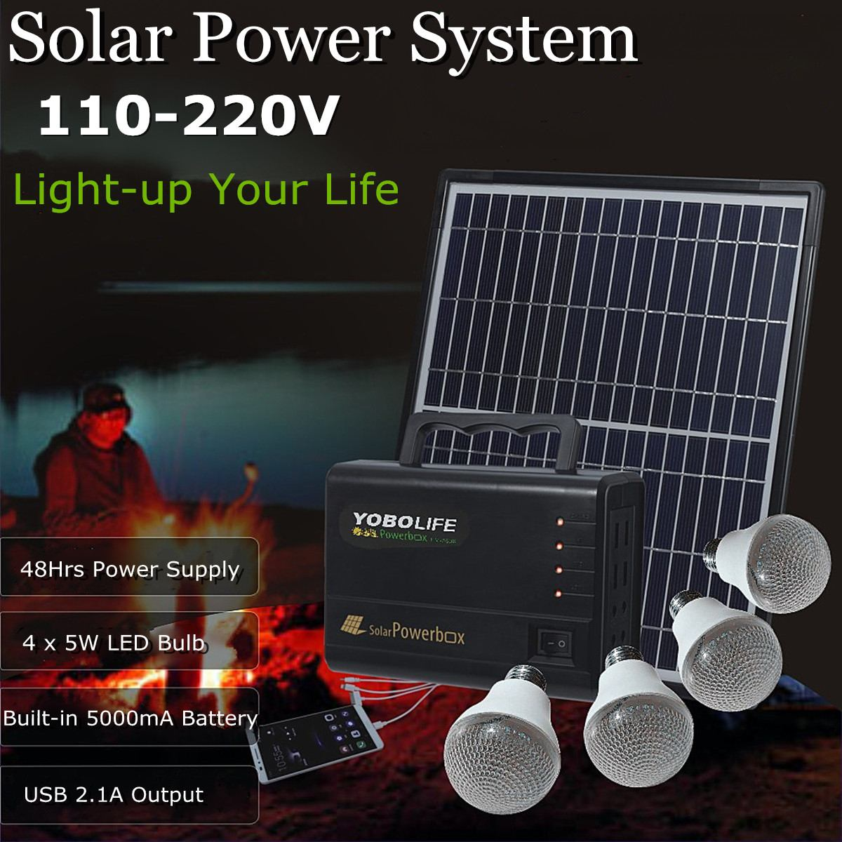 18V Solar Power Generator LED Light USB Charger Solar Panel Power Storage Generator Rechargeable Sealed Lead-acid Battery