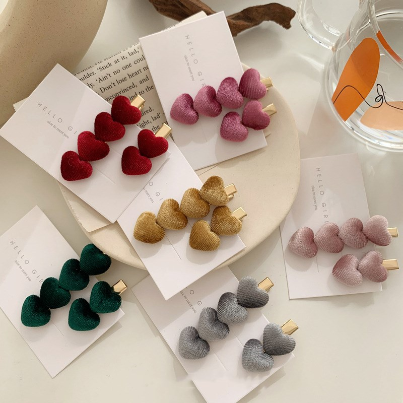 Fashion Velvet Love Hair Clip Ins Sweet Bangs Clip Hairpin Female Autumn And Winter Side Clip For Girls Women's Hair Accessories