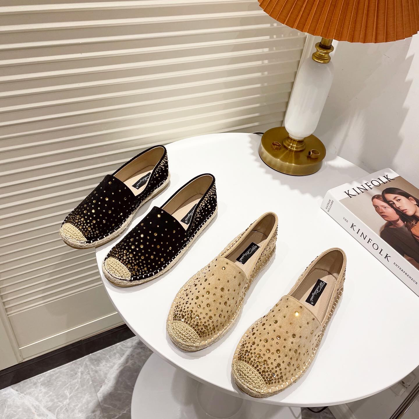 Chic strass embelli Espadrilles femmes chanvre chaussures bout