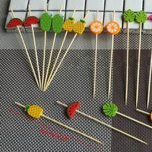 100 шт одноразовые бамбуковые палочки еда фруктовый коктейль ручной работы зубочистки поставка
