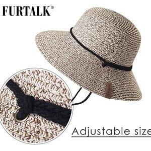 Image 2 - FURTALK kapelusz na lato dla kobiet słomkowy kapelusz kapelusz przeciwsłoneczny na plażę kobiece szerokie rondo UPF 50 + ochrona przed słońcem kapelusze wiadro czapka z wiatrem smycz