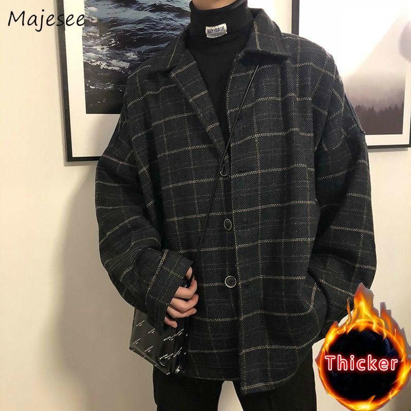 Woolen Coat Men Clothes Plus Size Plaid Mens Wool Overcoat Thickening Vintage Korean Style Streetwear with Pockets Students Soft