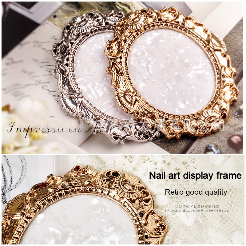 ANGNYA 1Pcs Oval Retro Rhinestones False Nail Art Plate Tips Practice Display Photo Frame Showing Stand Board Palette Nail Tools
