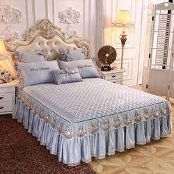 Luxury Gray Red Pink Solid Color Silky Tencel Modal Quilting Lace Bed Skirt Bedspread Bed Sheet Bed Cover Pillowcase Bedding Set