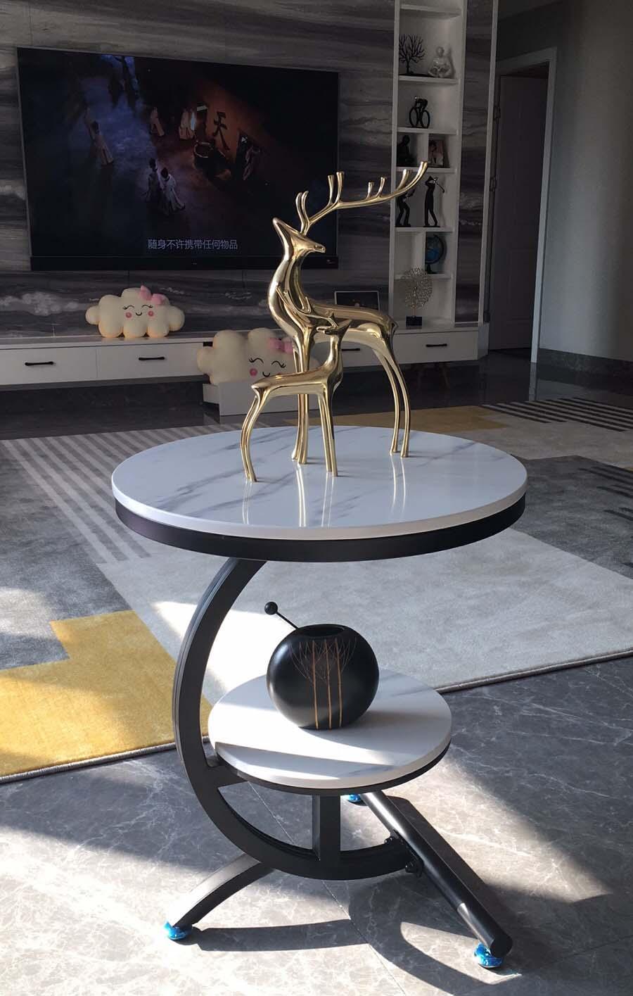 - Half Moon Light Luxury Corner Table Marble Coffee Table Movable