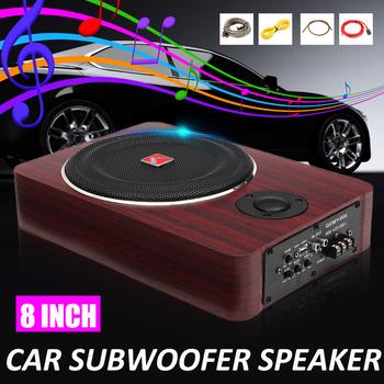 8 cal 600W subwoofery samochodowe Speaker12V Auto mocy czynnej Audio Stereo mosiądz wzmacniacz subwoofera głośniki tanie i dobre opinie Audew car subwoofers 8 inch Amplifier Speaker Zamknięta systemy subwoofer as description Wooden 12 v Car Subwoofers Amplifier