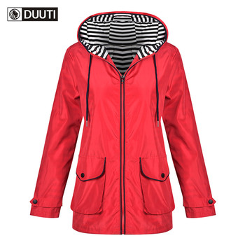 Forest Women Solid Rain Jacket Outdoor Hoodie Waterproof Long Coat Overcoat Windproof Warm Hooded Jacket 2019 D20