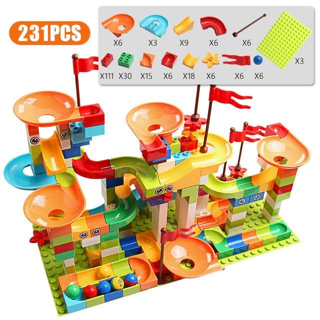 77-308PCS Marble Race Run Big Block Compatible Duploed Building Blocks Funnel Slide Blocks DIY Big Bricks Toys For Children gift 3