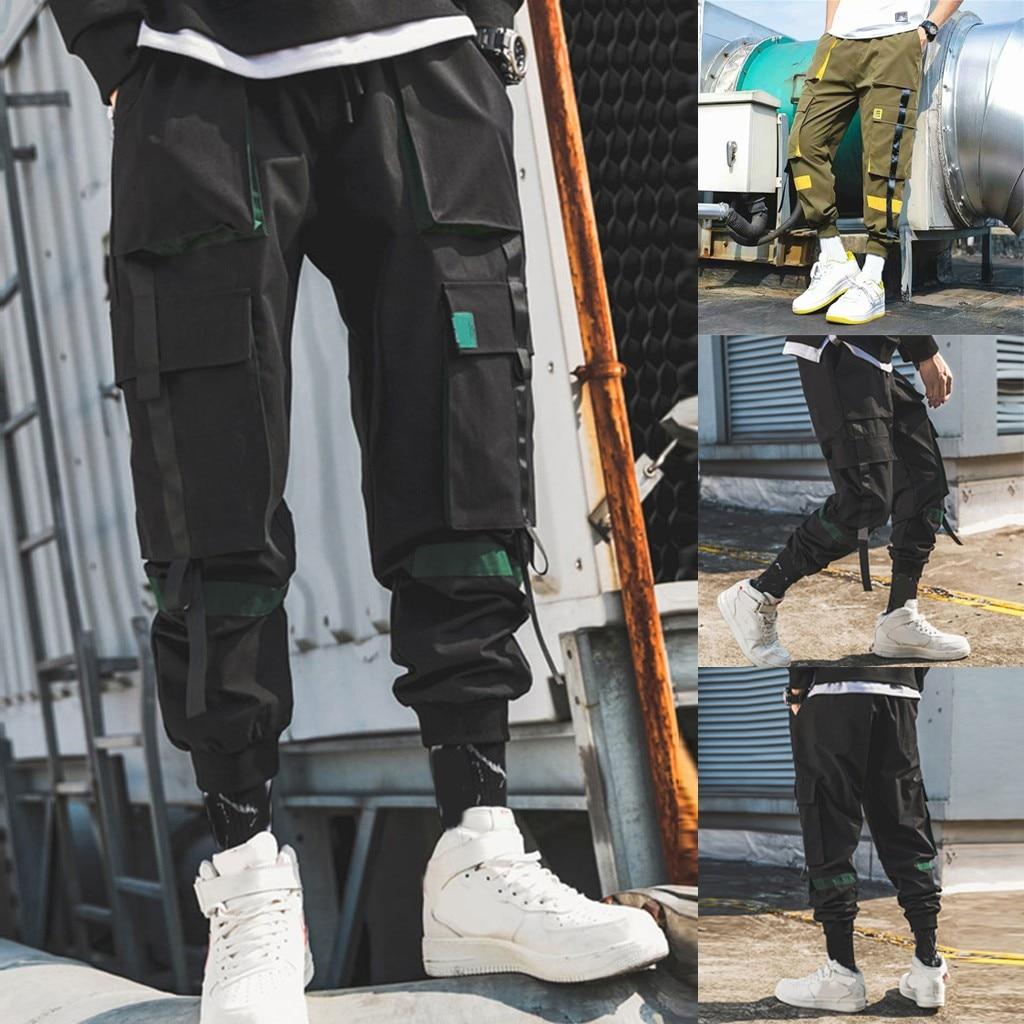 Men's Individual Pure Color Overalls Nine-Minute Trousers Cargo Pants Pantalones Hombre Streetwear Joggers Sweatpants Hip Hop